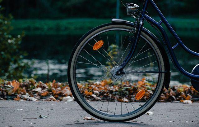 A photograph of a bike wheel