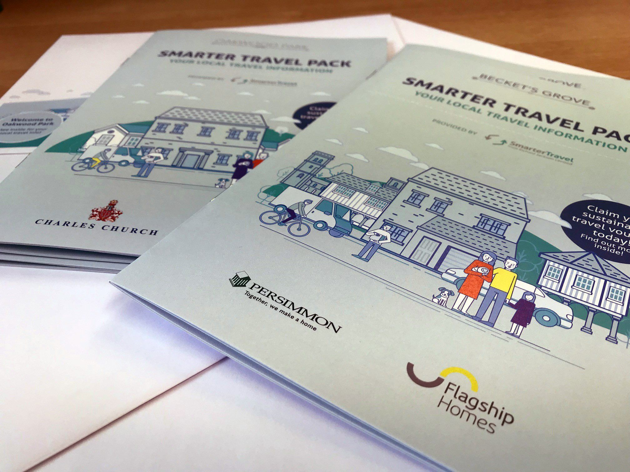 A photograph of the Becket's Grove Residential Travel Plan welcome packs