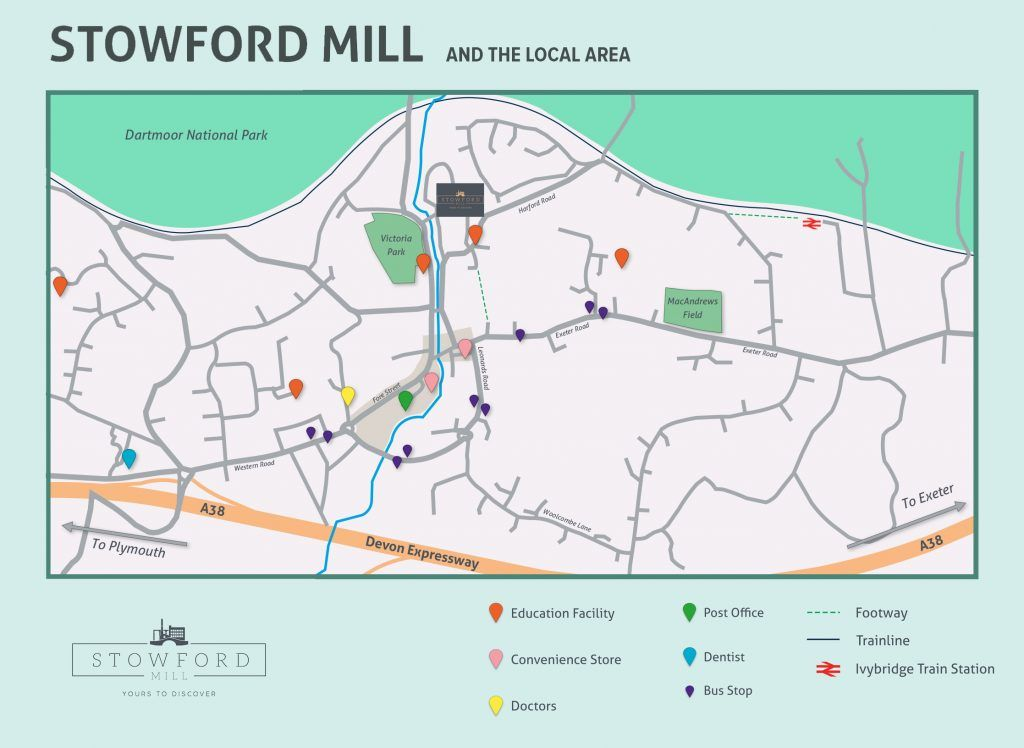 Local area map for Ivybridge and Stowford Mill area